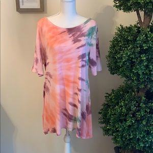 Soft Surroundings Tie Dye Tunic Top Size Large